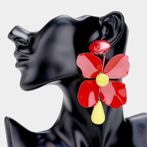 Metal Floral Earrings