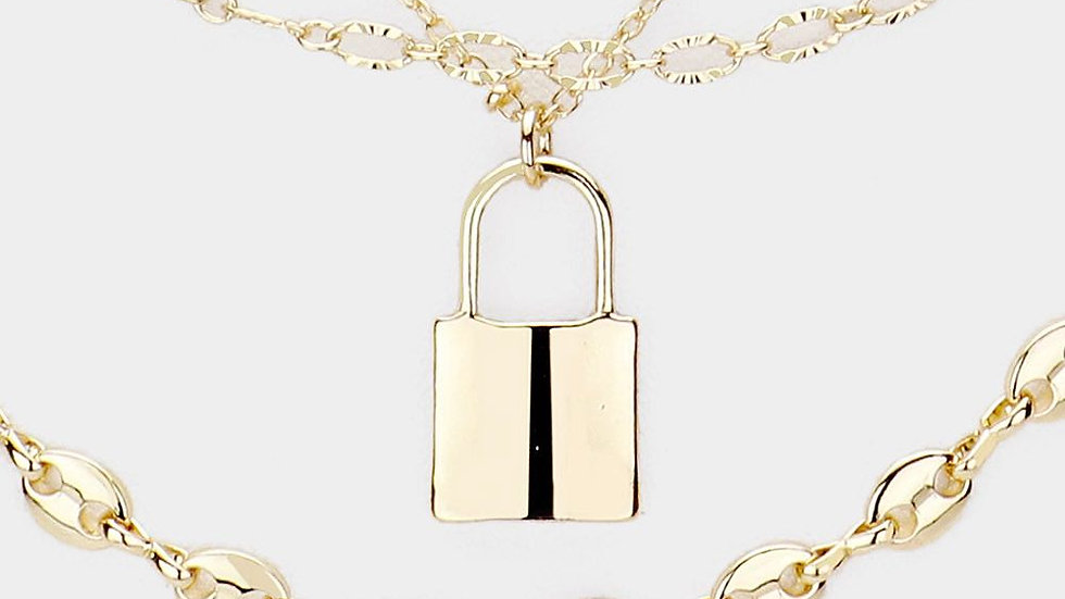 Three Chain Lock Necklace