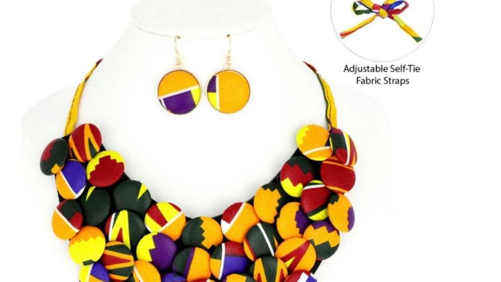 African Print Button Bib Necklace