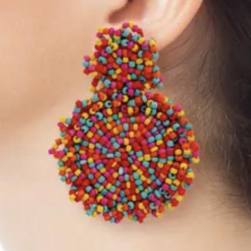 """Red """"MULTI"""" fiesta earrings"""