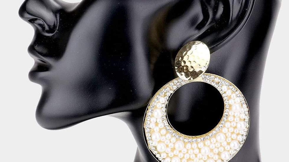 Round Cutout Pearl Earrings