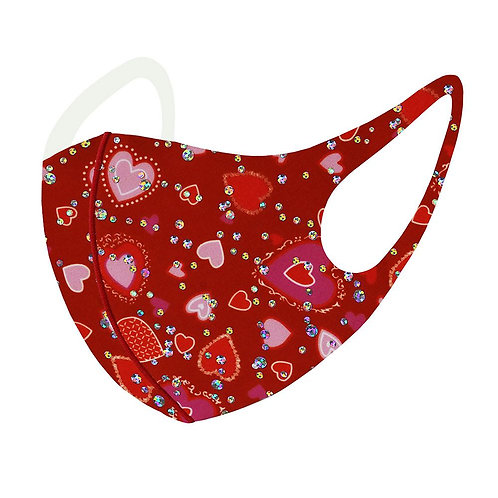 Pink & Red Jeweled Heart Mask