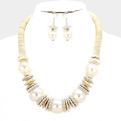 Pearl cream necklace set