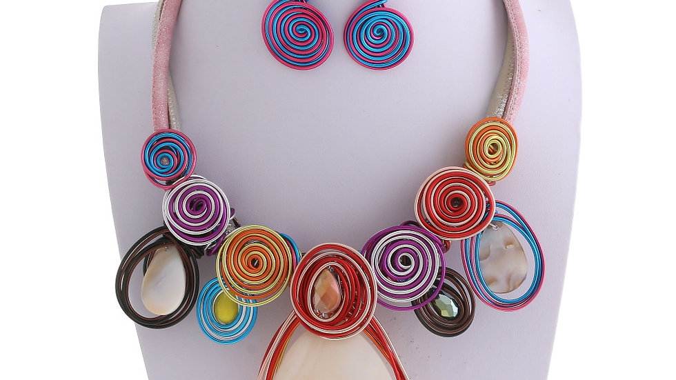 Colorful Whirley Necklace Set