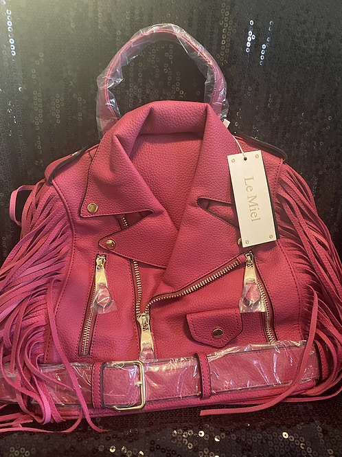 Faux Leather Jacket Backpack