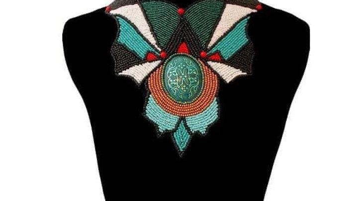 Green & Black Long Bib Necklace