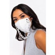White Faux Leather Chain Mask