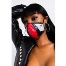 Red Black & White Faux Leather Mask