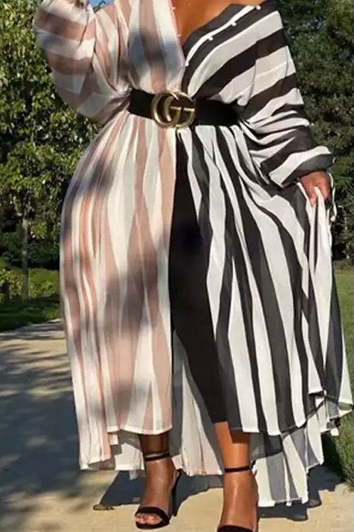 Yin & Yang Striped Button-up