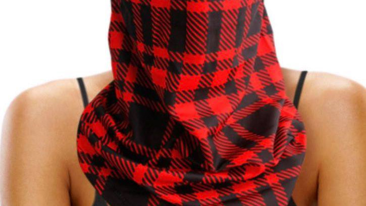 Red & Black Plaid Face Cover