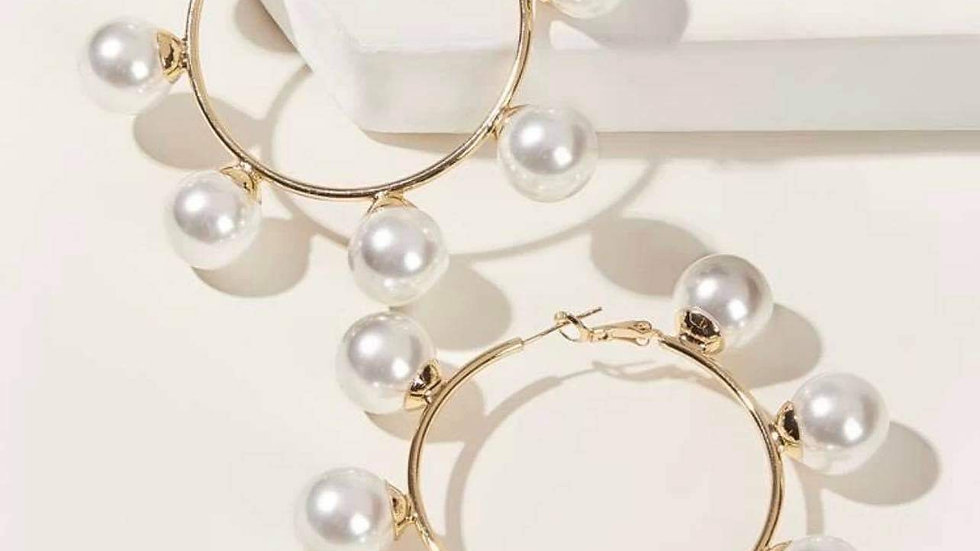 Large pearl gold hoops