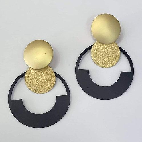 Black & Gold Round Earrings