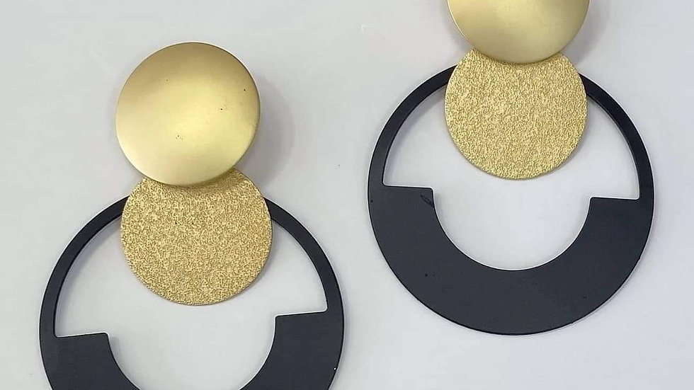 Black & Gold Round Earrings
