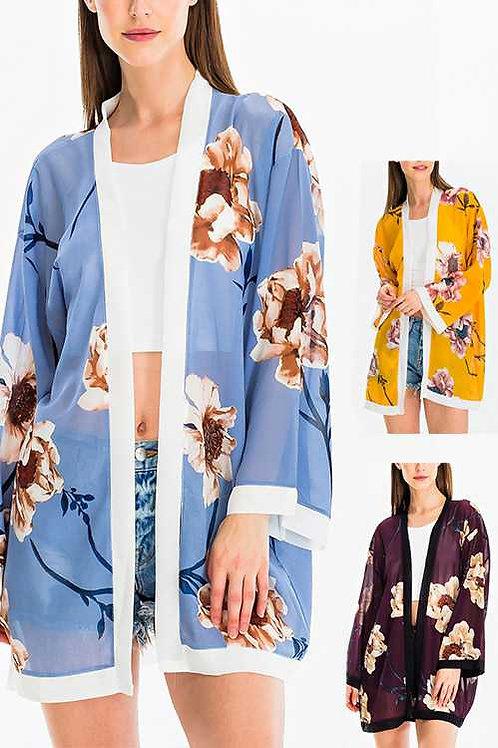 Floral Print Sheer Cardigan Set