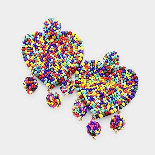Heart Beaded Drop Earrings