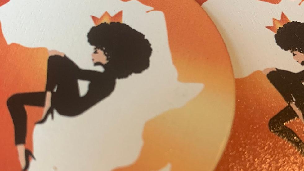 """""""Queen on Africa"""" Wooden Earrings"""
