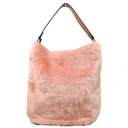 Pink Faux Fur Handbag