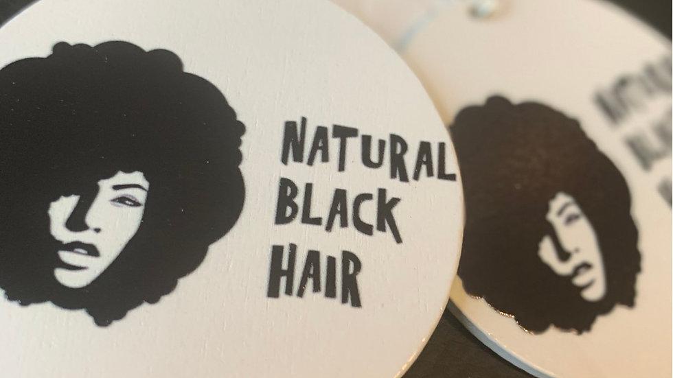 Natural Black Hair Wooden Earrings
