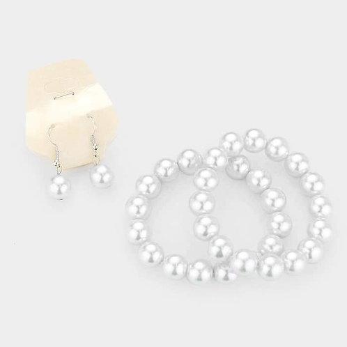Pearl Earring/Bracelet Set