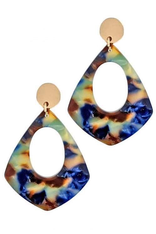 Aqua & Mint Marble Drop Earrings