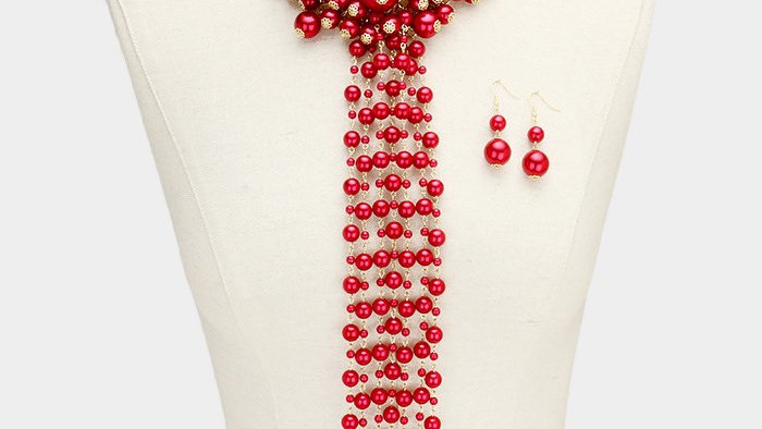 Red Pearl Drop Necklace Set