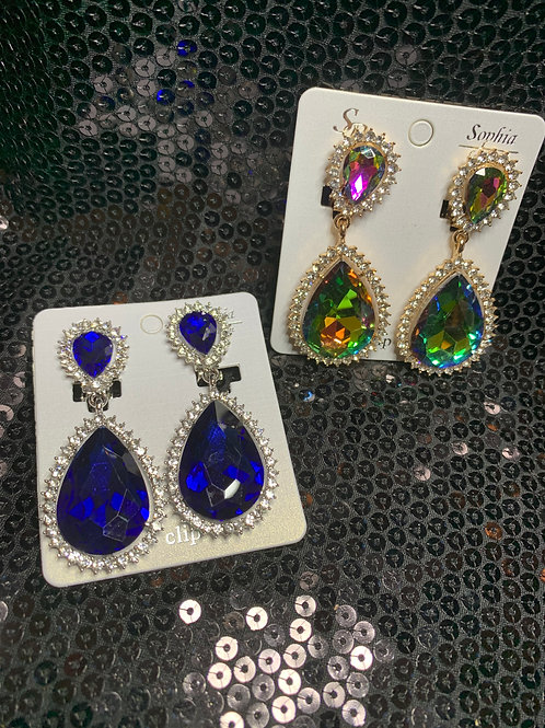Jeweled Drop Clip-Ons