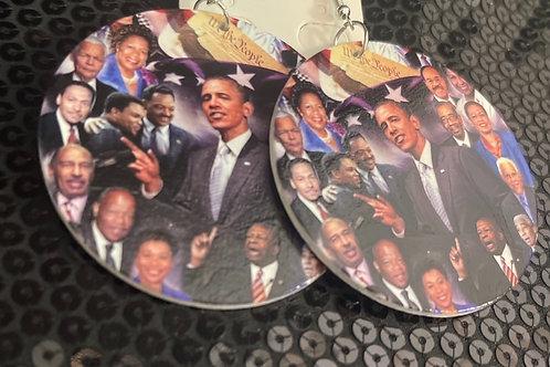 Wooden Obama Earrings