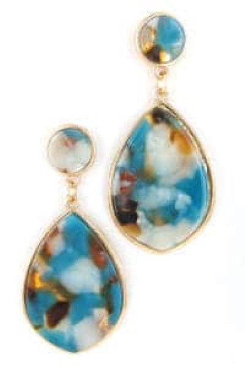 Blue Marble Drop Earrings