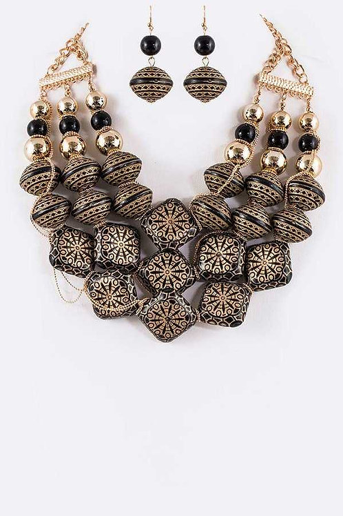 Gold Engraved Bead Statement Necklace