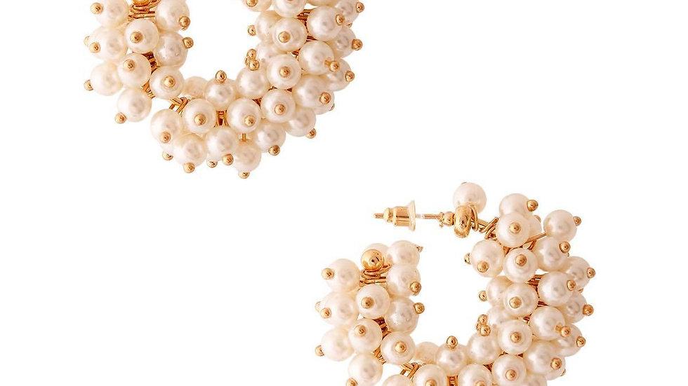 Cluster Pearl Hoops
