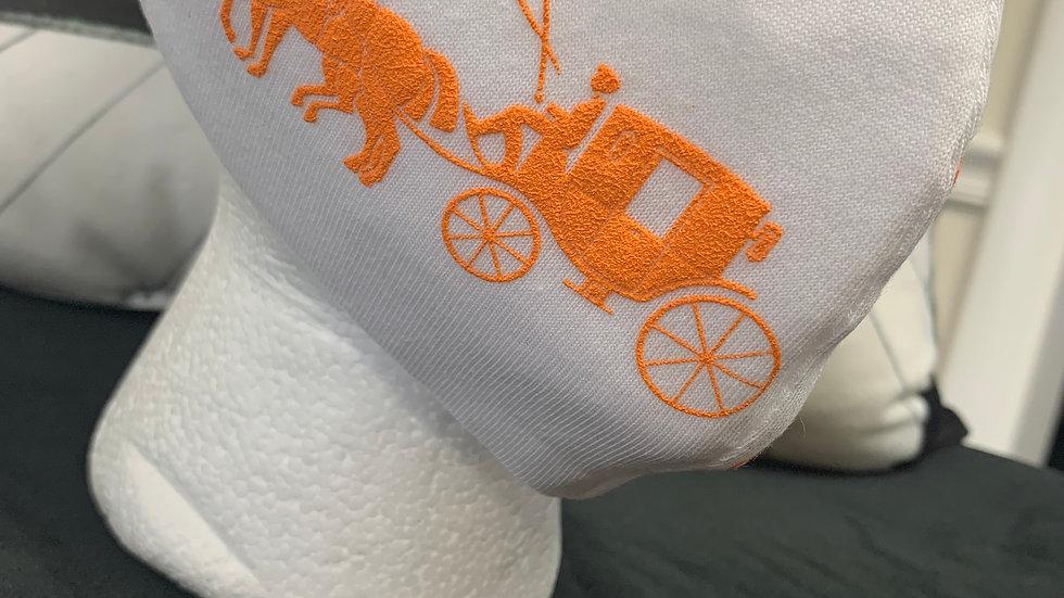 White & Orange Coach Inspired Mask