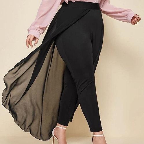 Skinny Pants with Chiffon Overlay