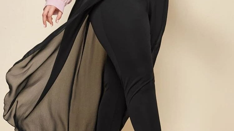 Skinny Pants with Chiffon Overlay