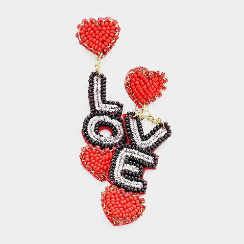Beaded Love Earrings