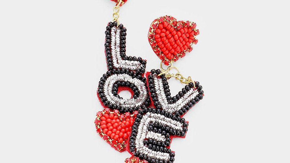 Beaded Love Earrings