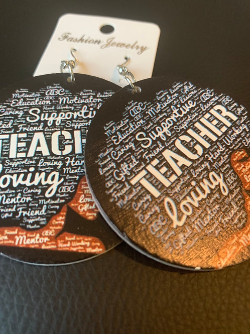 Supportive Teacher Wooden Earrings