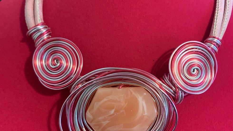 Rose Quartz Wire Wrap Necklace Set