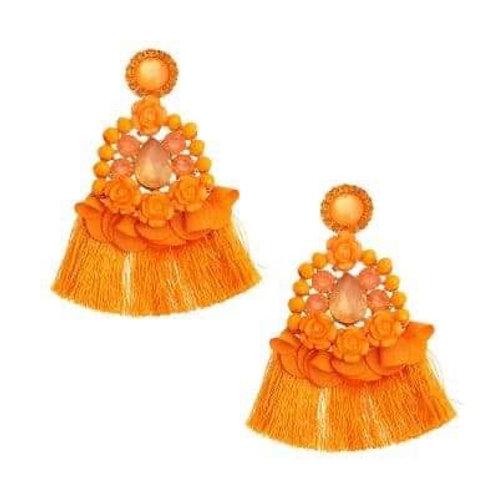 Tangerine Crystal Encrusted Tassel Earrings