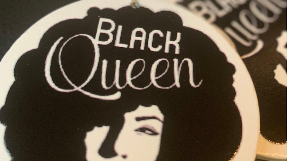 Black Queen Wooden Earrings