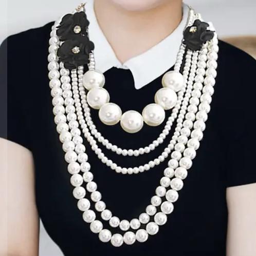 Black flower pearl set