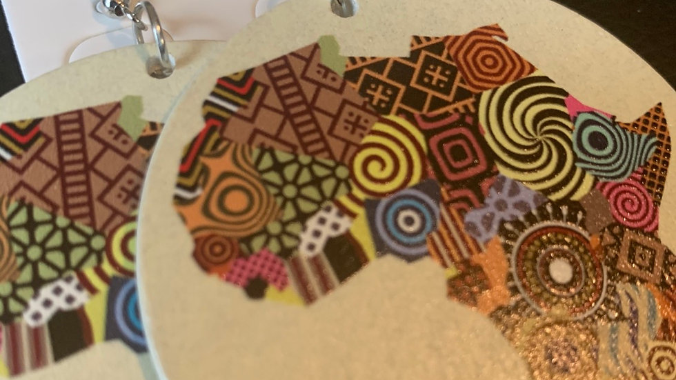 """""""Colors of Africa"""" Wooden Earrings"""