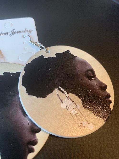 """""""Tears in Africa"""" Wooden Earrigs"""