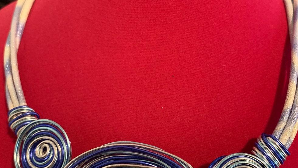 Blue Wire Wrap Necklace Set