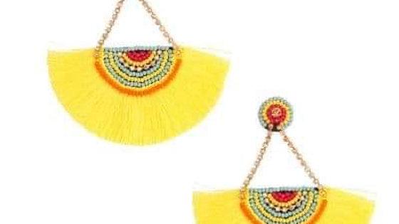 Mustard Beaded Tassel Earrings