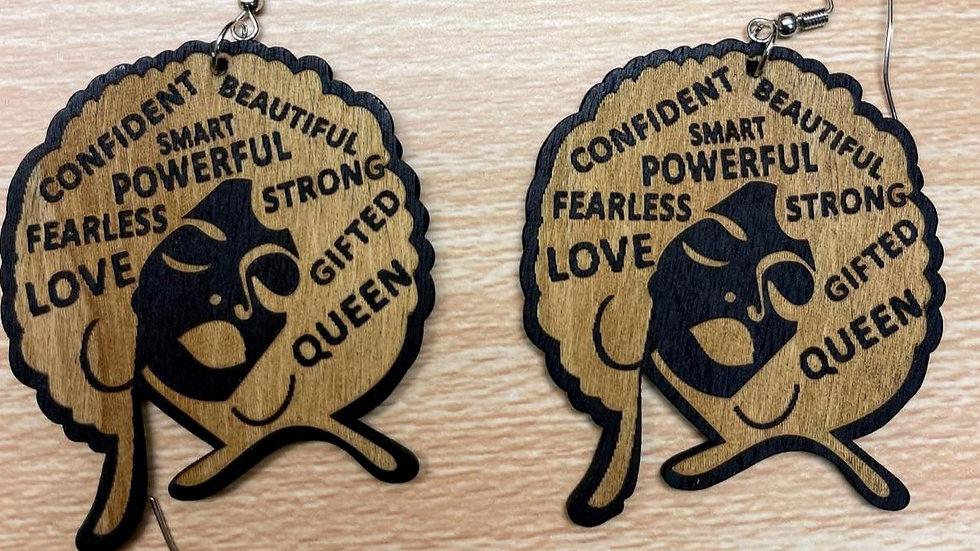 Confident Queen Wood Earrings