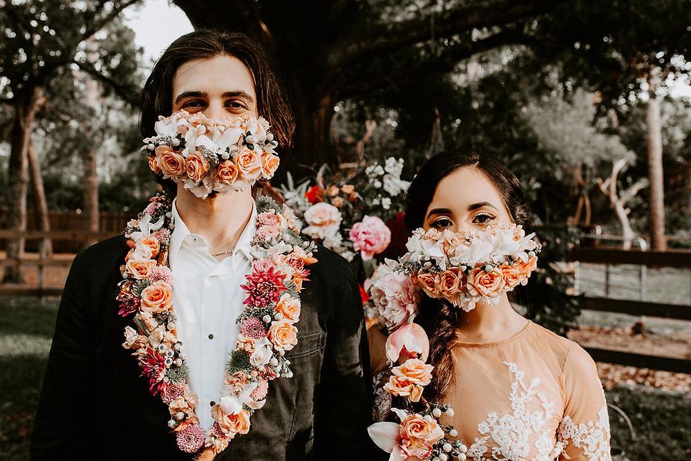 Dressing up coronavirus protective masks with beautiful flowers