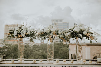 Chic Modern Rustic Flower Floral Arrangements with White Rose Hydrangea Greenery Eucalyptus on Glass Cylinder with Curly Willow Gold Votive Candle on Rooftop of Red Mesa Cantina Downtown St. Petersburg Tampa Bay Florida Jennifer Martin Photography Lemon Drops Weddings & Events