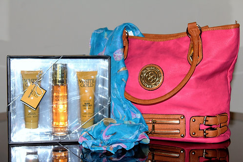 Purse with a scarf and perfume
