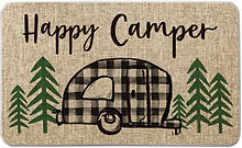 happy camper welcome mat plaid