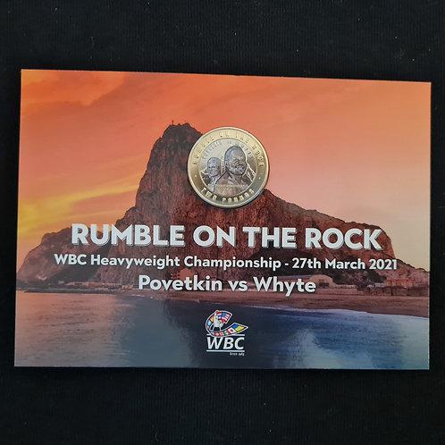 Gibraltar Rumble on the Rock £2 Coloured Coin in Card - 2021 BUNC Bi-Metallic